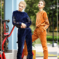 High Quality Women's 2 Piece Clothing Set 2017 Spring Long Sleeve Beading Velvet Top and Pants Suit Set Casual Outfit