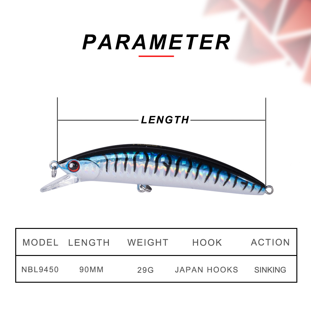Image 2 - NOEBY Sinking Minnow ABS Lure 90mm/29g Bass Pike Walleye Trout Plastic Fishing Wobbler Hard Baits Swimbaits Artificial Lure Sea-in Fishing Lures from Sports & Entertainment