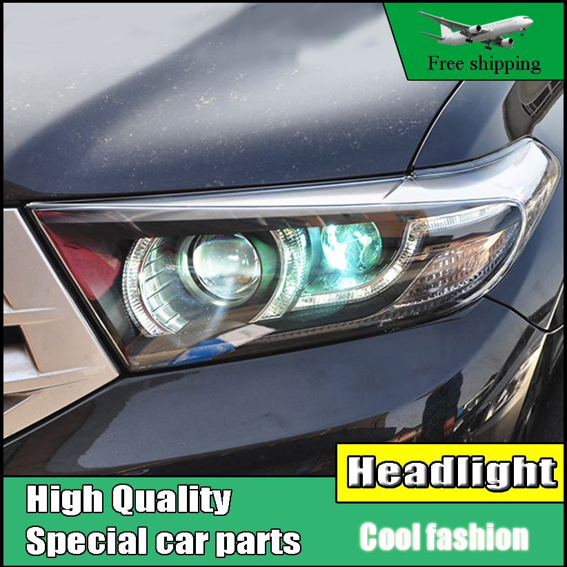 Car Styling Headlight Case For Toyota Highlander headlights 2012-2014 Led Head Lamp LED drl H7 hid Bi-Xenon Lens low beam front head lamps for honda civic headlights 2012 2014 new civic led drl h7 hid q5 bi xenon lens low beam