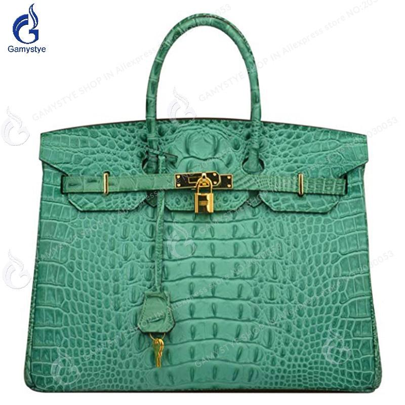 a7583816c3 Detail Feedback Questions about women bags Genuine Leather Luxury handbags  designer Messenger Bags Women s Crocodile Embossed Office Handbag Top  Handle ...