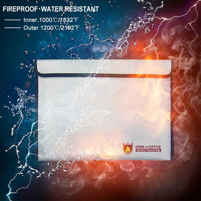 Office High Temperature Resistant Fireproof Waterproof Safety Document Pack Fireproof Bag School Office Storage SuppliesOffice High Temperature Resistant Fireproof Waterproof Safety Document Pack Fireproof Bag School Office Storage Supplies
