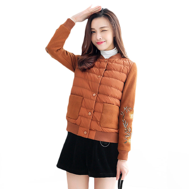 2018 Autumn Winter Women Coats Cotton Jackets Embroidery O Neck Outerwear Female Patchwork Single Breasted Short