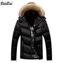 Bolubao 브랜드 남자 따뜻한 파카 고품질 겨울 남성 후드 코트 재킷 캐주얼 모피 칼라 windproof 남자 파카