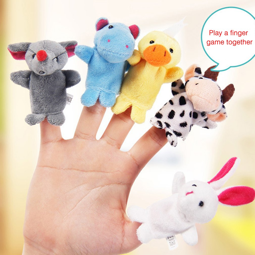 1PC Fun Baby Plush Toy Animal Finger Puppets Double Layer With Feet Storytelling Props Doll Hand Puppet Kids Toys Children Gift