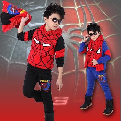 2015 Winter Spiderman Children Clothing Sets(Coat+Vest+Sport Pants),Casual Boys Clothes,Superman Cotton Kids Clothes Set,110-150 db4282 davebella boys sport clothing set children navy sets kids clothes