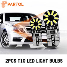 Partol 2Pcs T10 W5W LED Car Lights 168 194 Auto Turn Side Signal Lamp 6000K White Car Interior Lights Brake Reverse LED DRL Lamp(China)