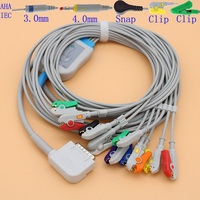 DB15 pins ECG EKG 10 leads cable and electrode leadwire for Kanz PC 109 monitor,ECG108/110/1203/1205 AHA or IEC cable.