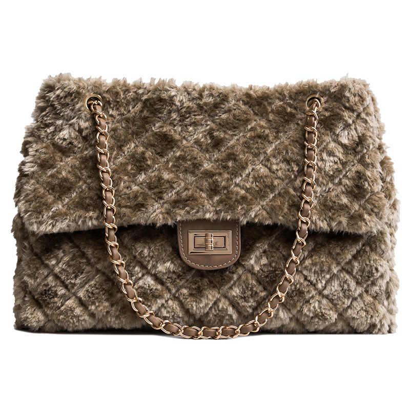 22298e8668a9 2018 Winter Women Bag Designer Faux Rabbit Fur Large Capacity Shoulder Bags  Brand Female Plaid Chain