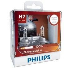 2X Philips H7 12 В 55 Вт PX26d X-treme Vision Автомобильные фары оригинальные лампы более яркие автомобильные галогенные OEM лампы 12972XVS2