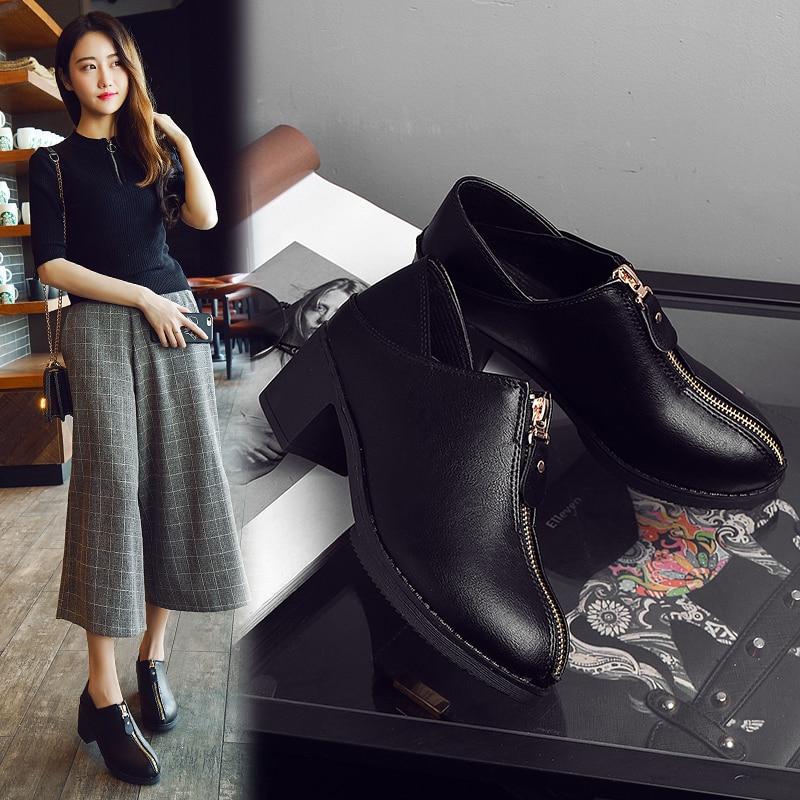 Ronde Dames Talons New De Épais Décoratif Hauts Avec Black 2018 Simples Tête 4 Bouche En British Chaussures brown Femmes Métal Profonde 8qwazY