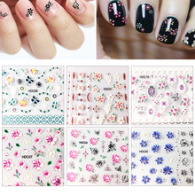 24Sheets Embossed 3D Nail Sticker With Rhinestone Nail Art Stickers Transfer Decals Adhesives-Self Nail Art Stickers Ongle недорого