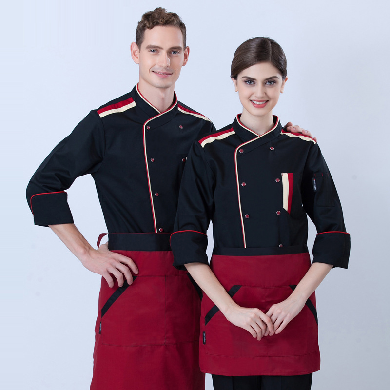 Western Food Chef Uniform Adult Long Sleeved Kitchen Overalls Fashion White Chef Clothes Custom Chef Suit Long Sleeve B-5604