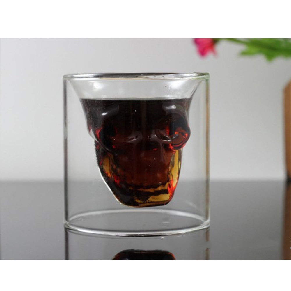 4Pcs Creative Skull Head Wine Glass Cup Crystal Whiskey Vodka Ghost Shot Bar Club Party Transparent Glasses Beer Glass Cups