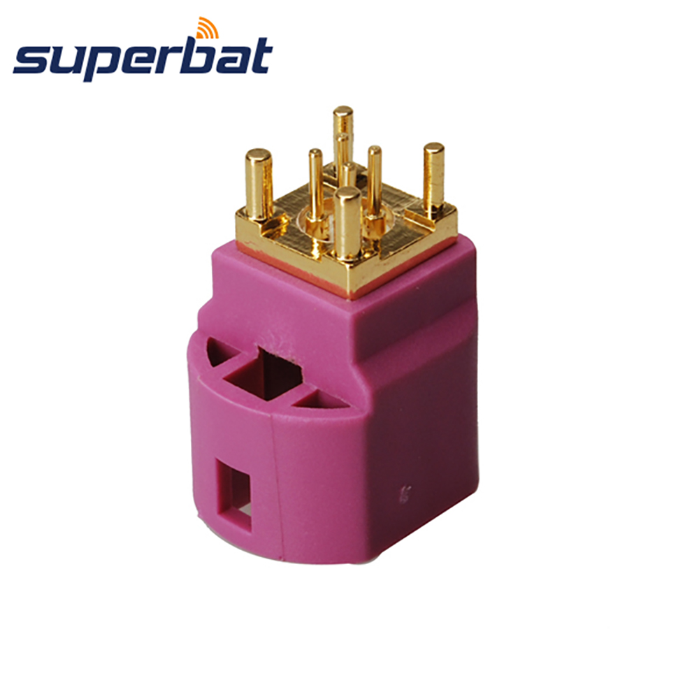Superbat Fakra H Violet/4003 HSD Jack Female PCB Mount Straight 4 Contact Pin Connector For Car Radio Controlled Parking Heating
