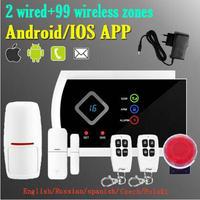 (1 set) IOS/Android APP Afstandsbediening Alarmsysteem 433 mhz Draadloze GSM SMS Home Business Inbraakalarm Solar Sirene kit-in Alarm Systeemkits van Veiligheid en bescherming op