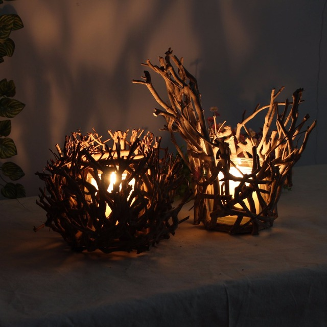retro style candle holder christmas decorations candlestick finishing decoration glass wood candle stand cup branches bird - Christmas Log Candle Holder Decorations
