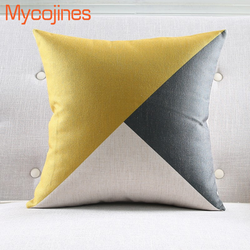 New Nordic Pillowcase Yellow Geometric Decorative Cushion Cover Grey Grid Sofa Throw Pillows Car Chair Home Decor Pillow Cover in Cushion Cover from Home Garden
