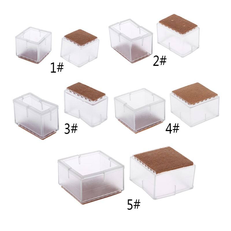 8pcs Square Silicone Chair Leg Caps Table Feet Pads Felt Wood Floor Protectors