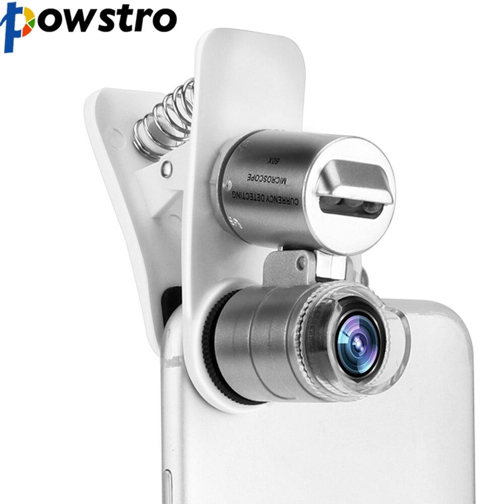 POWSTRO Universal 3-LED microscopio para teléfonos móviles lente Macro 60X Zoom óptico lupa Micro Cámara Clip LED lentes para iPhone