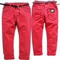 3614 pantalones niños niñas pantalones de los niños ocasionales suaves suaves pantalones de mezclilla otoño del resorte rojo pantalones vaqueros de los niños