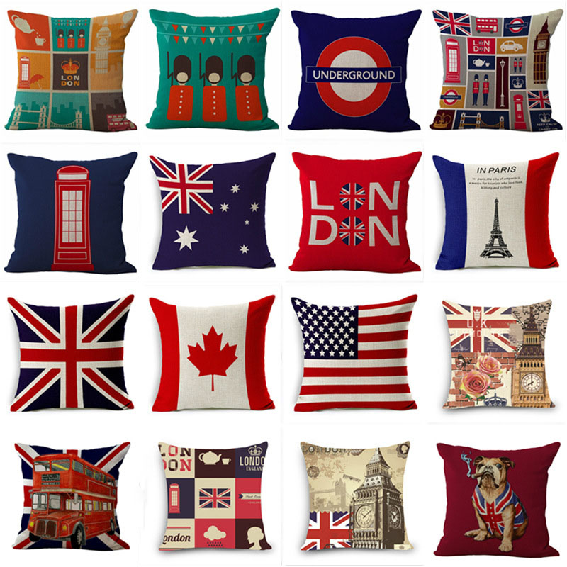 Pillowcase London Style Cushion Cover British Soldiers Pillow Case British Flag Square Linen Pillow Covers Home Decorative 45*45