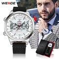 WEIDE Casual Model Digitale Meerdere Tijdzone Alarm Militaire Chronograaf Auto Datum LED Display Quartz horloge Relogio Masculino