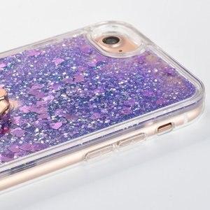 Image 5 - Caso de anel para apple iphone 5 5S se 6s 7 8 plus x xs xr xs max 5se s glitter líquido dinâmico titular macio volta telefone capa coque