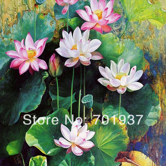 Lotus Flower Chinese Oil Painting Breath Taking Asian Wall