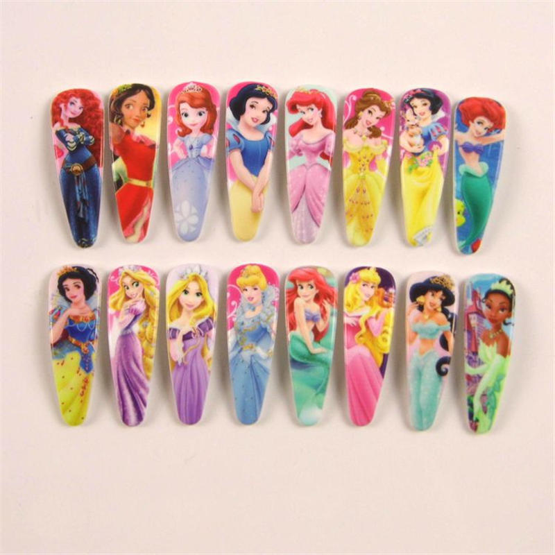 16 Pcs/lot Disney Children's Doll Accessories Snow White Hairpin Girl Headdress Side Clip Hair Accessories Plastic BB Clip