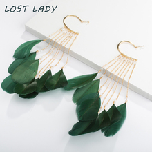 Lost Lady 2018 New Arrival Vintage Bohemian Feather Tassel Earrings For Women Shiny Crystal Beads Dangle Pendientes Mujer Moda