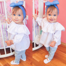 Кружевные топы с длинными рукавами и открытыми плечами для новорожденных девочек, рубашки, одежда