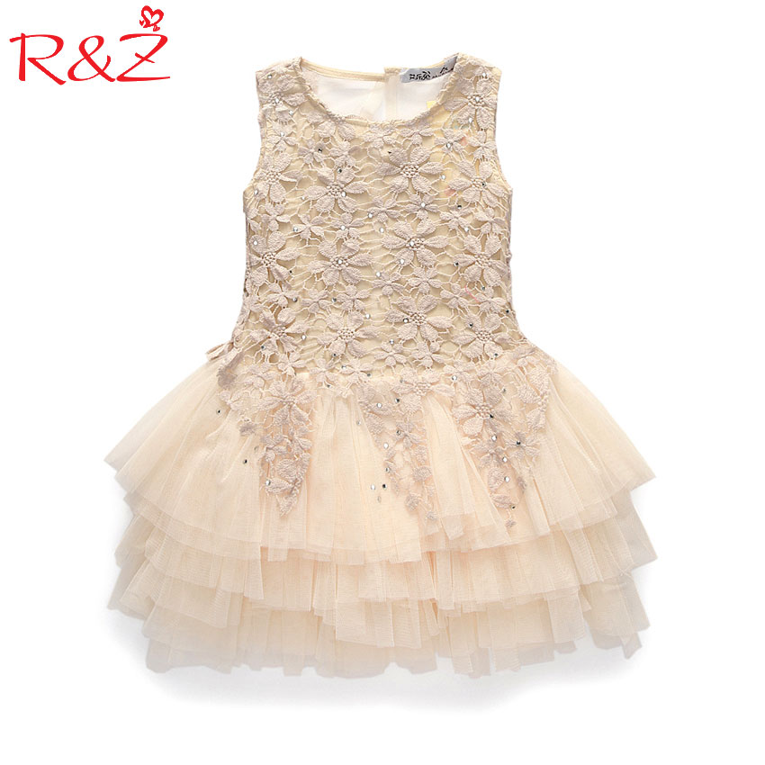 2017 Summer New Lace Vest Girl Dress Baby Girl Princess Dress 3-7 Age Chlidren Clothes Kids Party Costume Ball Gown Beige k1