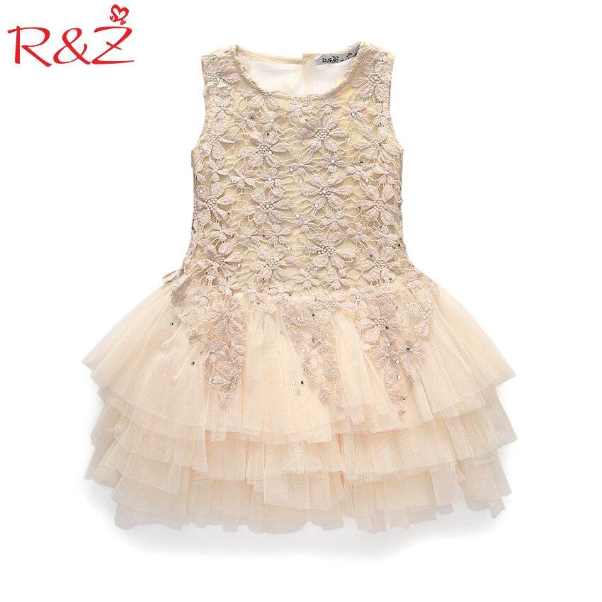 2017 verano nuevo cordón chaleco niña vestido niña princesa vestido 3-7 edad del traje del Partido de los cabritos bola Beige k1