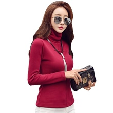 T Shirt Women Harajuku Autumn and Winter Plus Velvet Thick High Collar Tshirt  Womens T-shirts Long Sleeved T-shirt Size