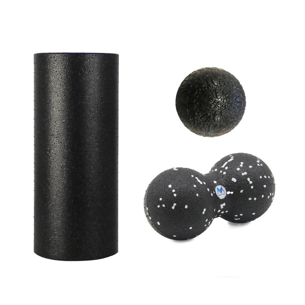 Rodillo de masaje EPP juego de rodillos de espuma (rodillo de 30 cm + bola de masaje de 10 cm + bola de maní de 24*12 cm) para terapia física y ejercicio muscular