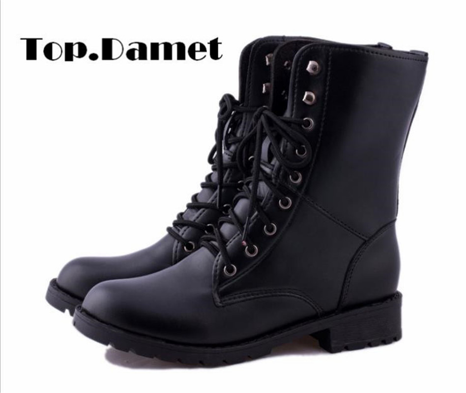 Top.Damet Women Boots Fashion Spring Autumn Winter Casual Low Heel Black Lace Up PU Leather Short Ankle Army Shoes Snow Boots