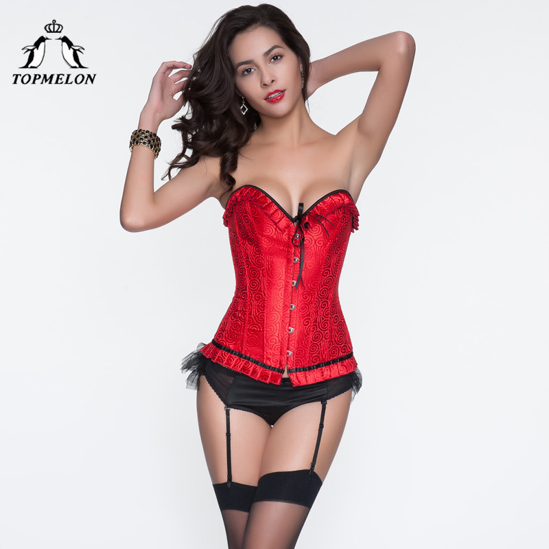 TOPMELON   Bustier   Corselet Sexy   Corset   Women Steampunk   Corsets   and   Bustiers   Gothic Red Floral Bow Club Show Party   Corset   Tops