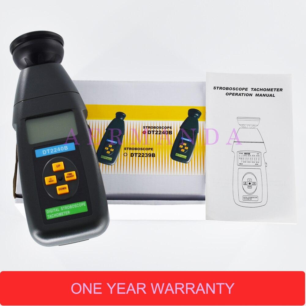 DT2240B Stroboscope Digital Não-contato de Flash Revolução medidor Velocímetro Fotoelétrico tacômetro 60-40,000 RPM
