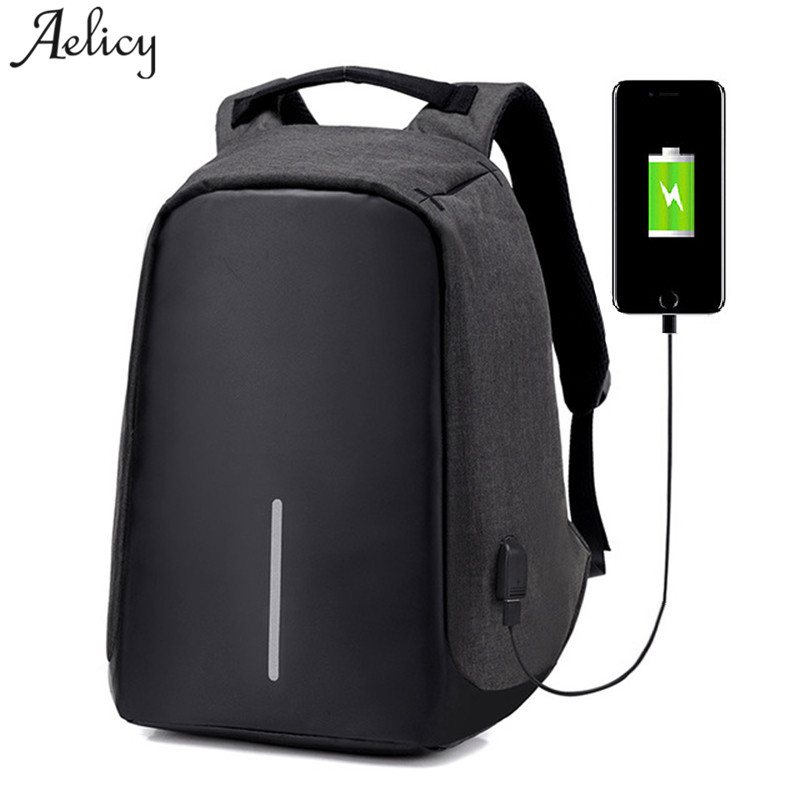 Aelicy Canvas Men's Anti Theft Backpack Bag USB Charge 15 Inch Laptop Notebook Backpack For Men Waterproof Travel Back Pack Bags dtbg backpack for men women 15 6 inch notebook laptop bags anti theft men s backpacks travel school back pack bag for teenagers