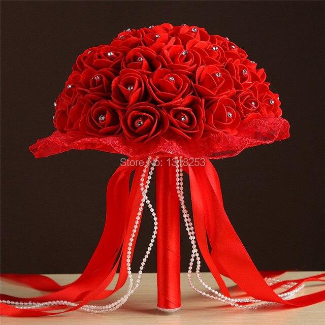 1294d54ba28 Blanco Rosa rosas Rojas flores de espuma artificial ramo de la boda ramos de  novia dama