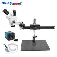 Professional 7X-45X Trinocular Stereo Microscope Camera 14MP HDMI Stereo Microscope Soldering Phone Repair Trinocular Mikroskop