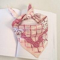 Hot Sale 100 Real Silk Bandana Scarf For Women Plaid Flower Pink Three Scarf Burbry Head