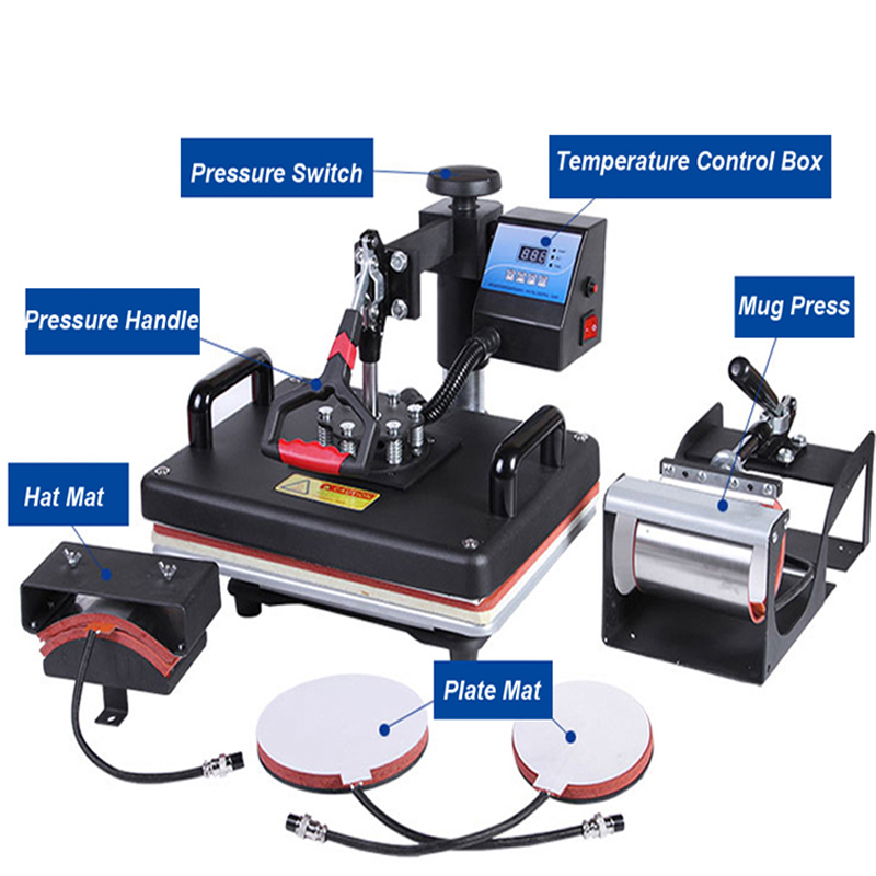 30*38CM 5 in 1 Combo Heat Press Printer Machine 2D Sublimation Vacuum Heat Press Printer for T-shirts Cap Mug Plates