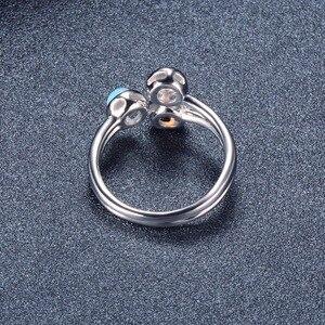 Image 4 - خاتم نسائي من العقيق الطبيعي من هانغ ، خواتم خطوبة مفتوحة من الفضة الإسترليني 925 ، مجوهرات فاخرة من الأحجار الكريمة 3 أحجار بتصميم كلاسيكي