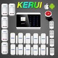 KR-8218G Russian/English/French/Spanish Voice Android/Iphone APP Controlled Dual Net Touch keypad  PSTN GSM Alarm System