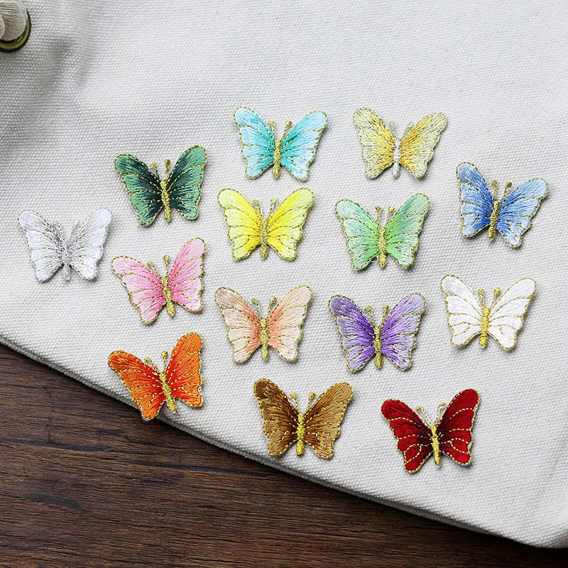 10PCS/LOT Small Embroidered Butterfly Patches Iron On Or Sew Fabric Sticker For Clothes Costume Patches Appliques DIY