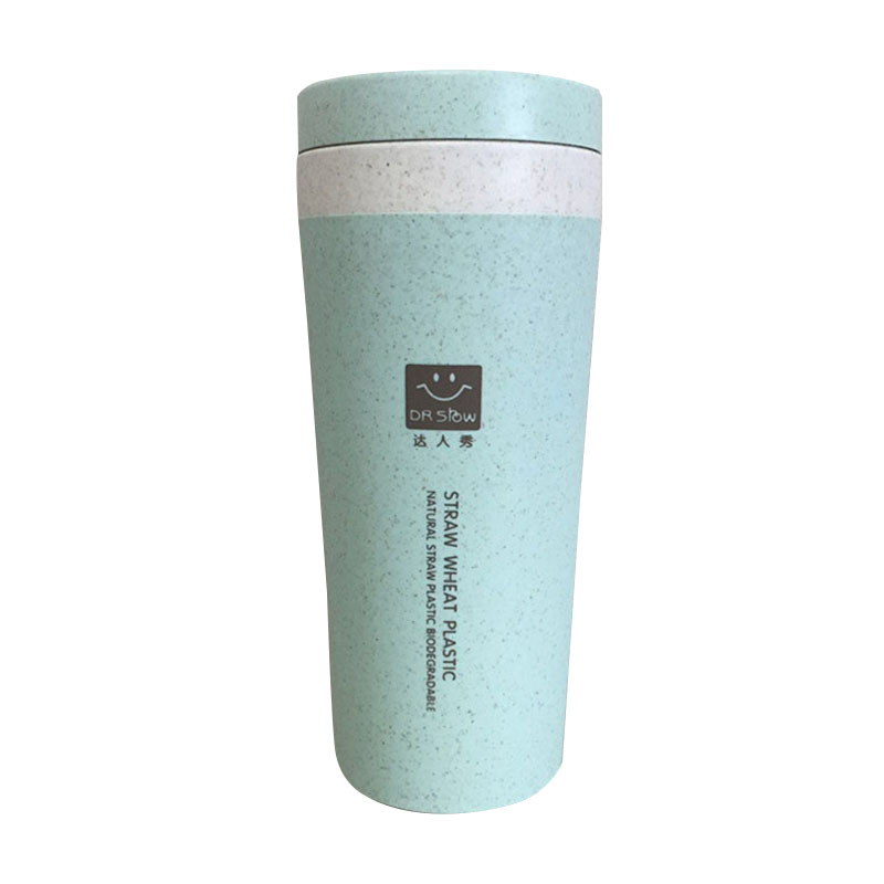 Portable 300ML Double Wall Thermos Drink Bottle With Rope Insulated Water Bottle Leak Proof Wheat Straw Bottle Travel Mug Thermo