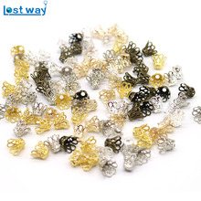 100pcs Silver Gold Plated Flower End Beads Caps Charms Wine Class Flower Metal Bead Caps For Jewelry Making 7x9mm,hole is 2mm