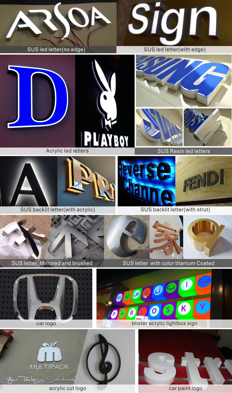 High Quality metal channel letters