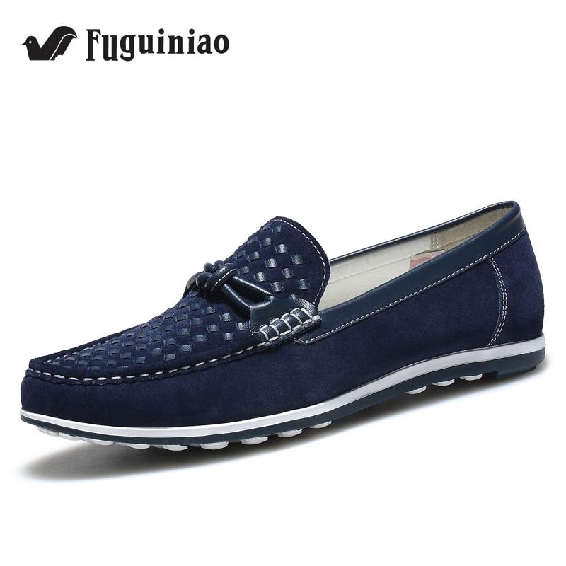 Livraison gratuite! FUGUINIAO vache daim printemps/automne homme chaussures de conduite/chaussures décontractées/homme mocassins/couleur bleu, gris, vin-in Chaussures décontractées homme from Chaussures    1